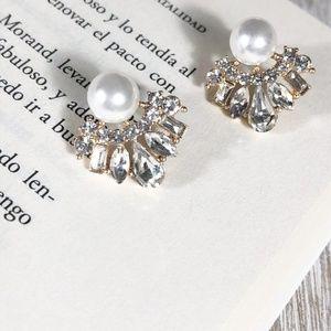 WHITE PEARL AND DIAMOND LARGE STUD TASSEL EARRINGS